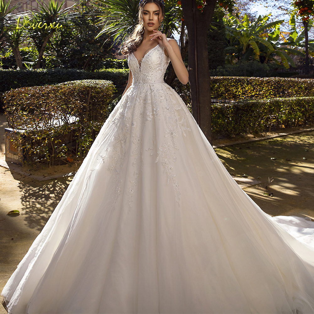 Loverxu Luxury V Neck A Line Wedding Dress Applique Beading Tank Sleeve Backless Bride Dress Chapel Train Bridal Gowns Plus Size-in Wedding Dresses from Weddings & Events