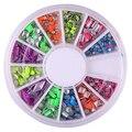 2015 nova Newn 6 cores Neon rebite praça Stud Rhinestone Metal Nail Art Stickers DIY decoração 6F8H