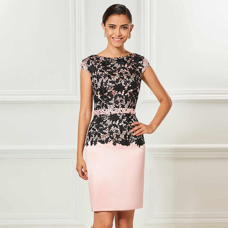 Tanpell sheath short cocktail dress light pink cap sleeves knee length dress lady party formal lace