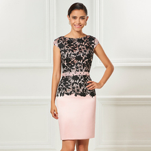 Tanpell sheath short cocktail dress light pink cap sleeves knee length lady party formal lace plus custom dresses