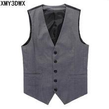 XMY3DWX New 2017 spring Men Casual Vest Male Brand Business Vest Mn Fashion Waistcoat Undershirt Slim Fit Mens Vest S-XXXL