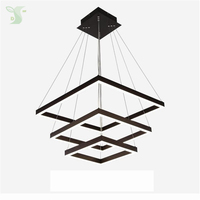 Square LED Chandelier Led Chandeliers Acrylic Ceil Ing Light 3ring Hanglamp 130W Dimmable For Living Room