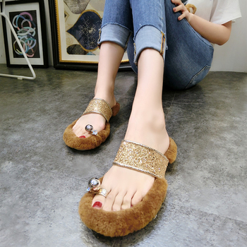 summer bling bling clip toe fur sandals woman big rhinestone wool flip flops woman glitter lamb fur beach sandals big toe sandal