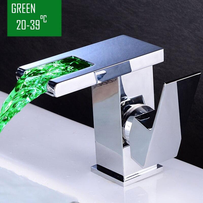 BECOLA salle de bain cascade robinet à LED. Robinet de lavabo en laiton avec cascade en verre. Mitigeur de salle de bain mitigeur lavabo monté sur le pont - 3
