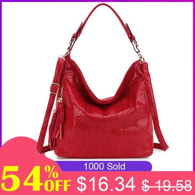 Модные кожаные Для женщин сумки-Хобо кисточкой Для женщин большие сумки на ремне сумка женская ручной работы женские сумки через плечо сумк...