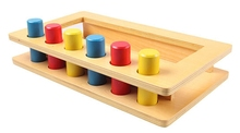 Niños Montessori Juguete de Madera Del Bebé de Tres colores inserto cilindro caja de Aprendizaje Preescolar Educación Formación Brinquedos Juguets