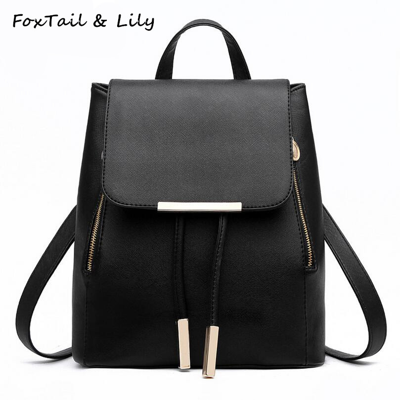 FoxTail Lily Korean Fashion School Backpacks for Teenage Girls Women High Quality PU Leather Drawstring Backpack