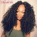 Nueva Llegada U parte pelucas pelo de la virgen 180 densidad Rizado Peruano U parte pelucas verdaderas del pelo humano con parte Media para el negro mujeres