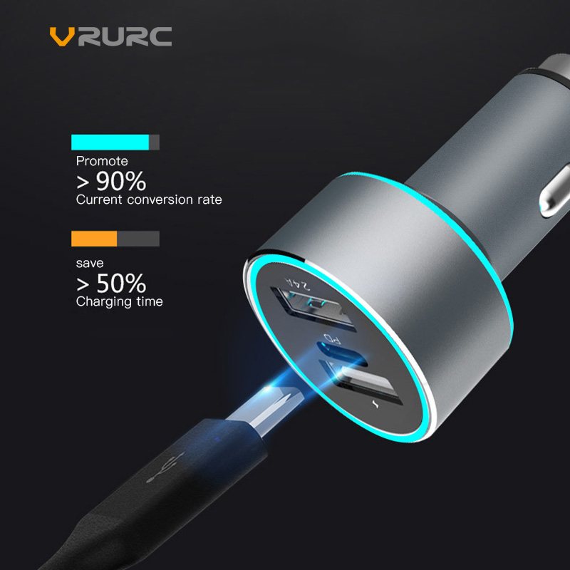 Vrurc 48W QC3.0 USB Type-c PD Car Charger For iPhone X Dual USB Type C PD Quick Charge QC 3.0 Charger For Samsung S9 Xiaomi Sony