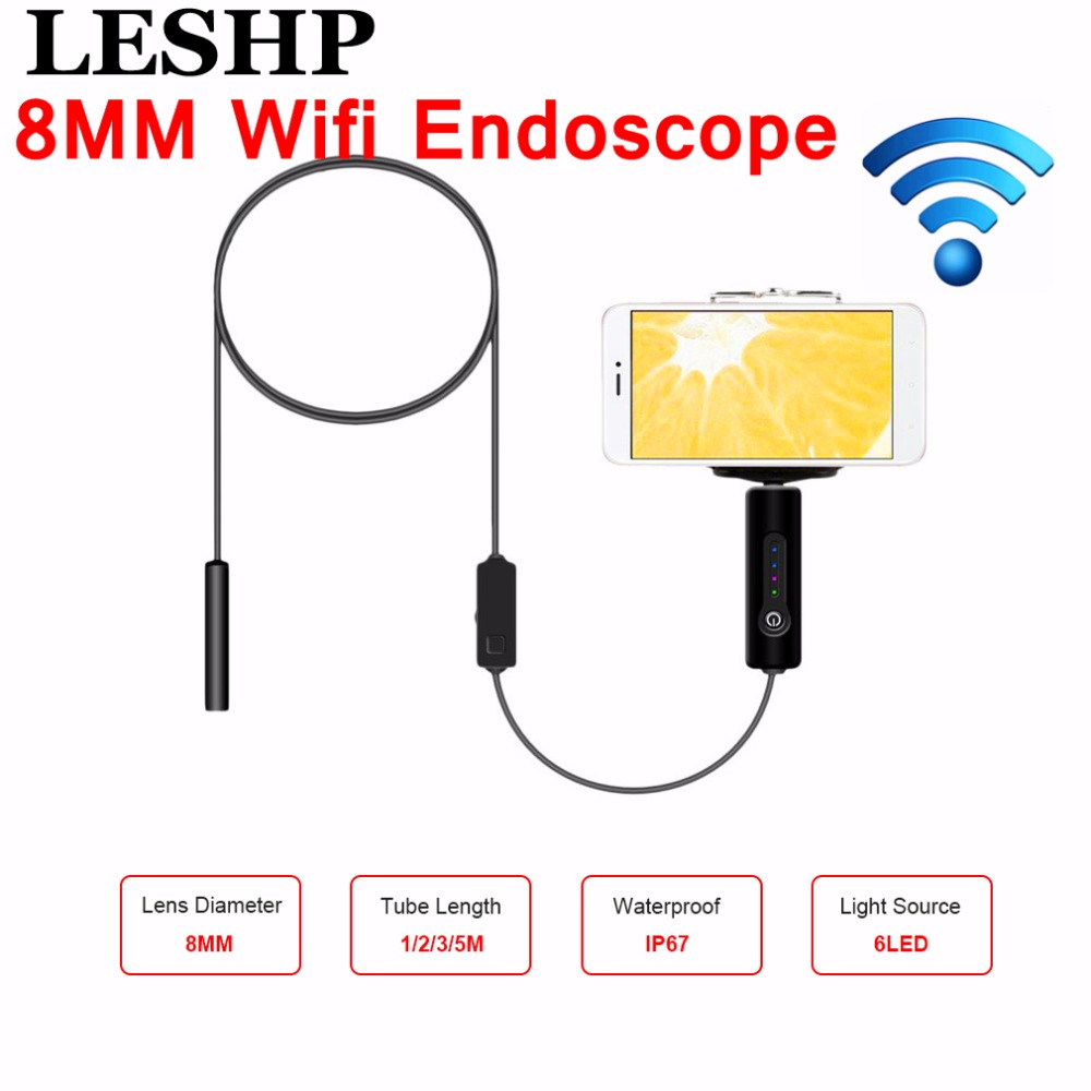 LESHP 8mm Lens 2MP HD Wifi Endoscope Camera with 1m 2m 3m 5m Soft Hard Cable Waterproof IP67 For IOS Iphone Android Tablet PC 8mm 1m 2m 3 5m wifi ios endoscope camera borescope ip67 waterproof inspection for iphone endoscope android pc hd ip camera