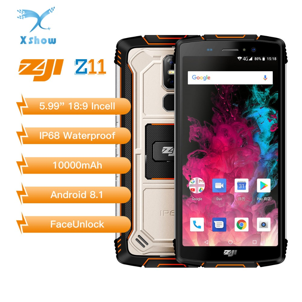 "Homtom Zoji z11 Mobile Phone IP68 5.99"" MTK6750T Octa core Dual sim 10000mAh Android 8.1 Face unlock 4GB RAM 64GB ROM Smartphone(China)"