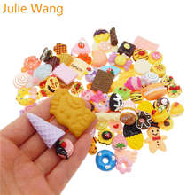 Julie Wang 20PCS Resin Food Cake Bread Candy Icecream Lollipops Cabochon Slime Charms Randomly Mix Phone Decor Jewelry Making(China)