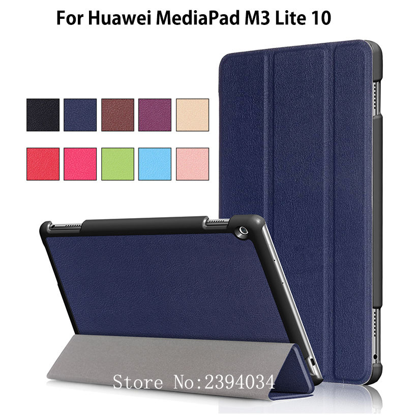 Ultra Slim Cover Case For Huawei MediaPad M3 Lite 10 10.1 Smart Case BAH-W09 BAH-AL00 Funda Tablet PU Leather Magnet Stand Case megoo case cover sleeve for huawei mediapad m3 8 4 ultra slim lightweight folio stand 8 4inch