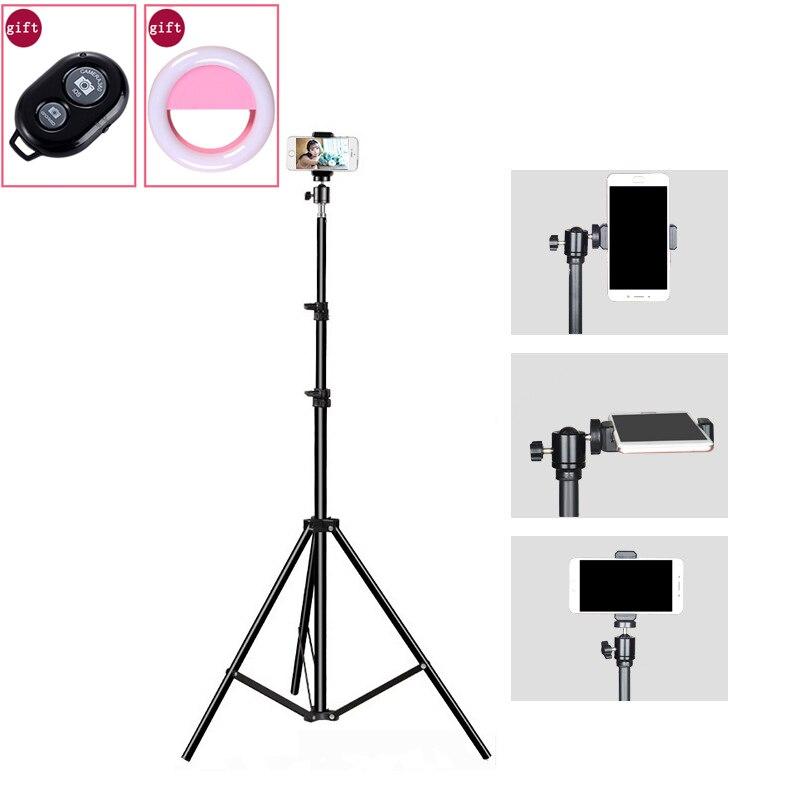 Photo Studio 200CM Light Stand Floor Tripod Ball Head Fill Light Photography Phone Clip Bluetooth Control