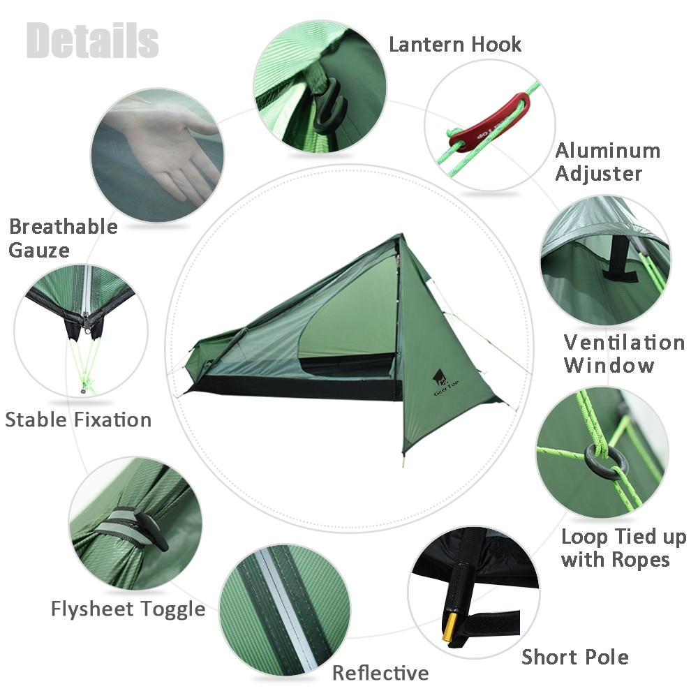 GeerTop Ultralight Camping Tent One Person 3 Season Waterproof 950g Backpacking Tents No Trekking Poles for