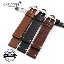 CARLYWET RU STOCK 20 22 24mm Cowhide Smooth Vintage Leather Black Brown Replacement Watch Band Strap Belt With Polished Buckle