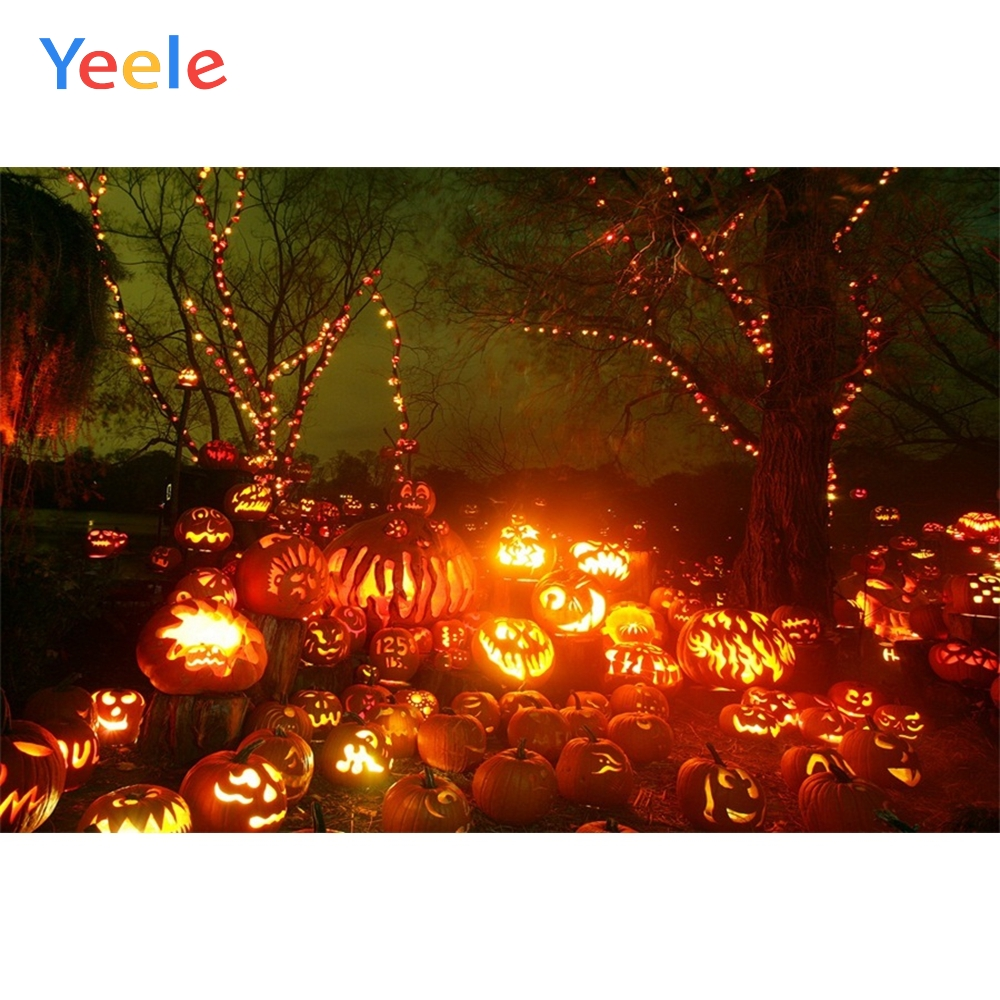 Yeele Halloween Party Pumpkin Lantern Night Forest Photography Backdrops Personalized Photographic Backgrounds For Photo Studio in Background from Consumer Electronics