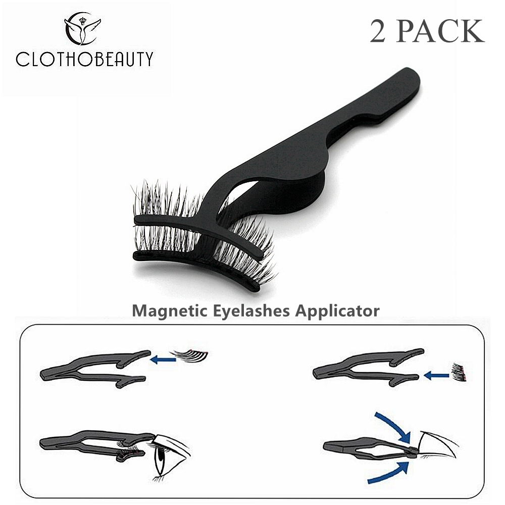 CLOTHOBEAUTY 2Pcs Magnetic Eyelashes Applicator,Magnetic Eyelashes Tweezer False Eyelashes Applicator For Magnet Eyelashes(2TW)