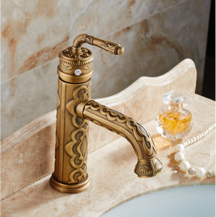 Basin Faucets Solid Brass Vintage Antique Bronze Bathroom Faucet Single Handle European Hot and Cold Water Basin Mixer Tap micoe hot and cold water basin faucet mixer single handle single hole modern style chrome tap square multi function m hc203