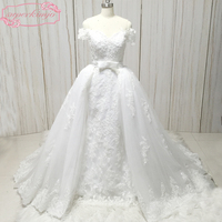 ball gown wedding dresses gowns off the shoulder sweetheart neckline lace appliques beading pearls detachable train bridal dress
