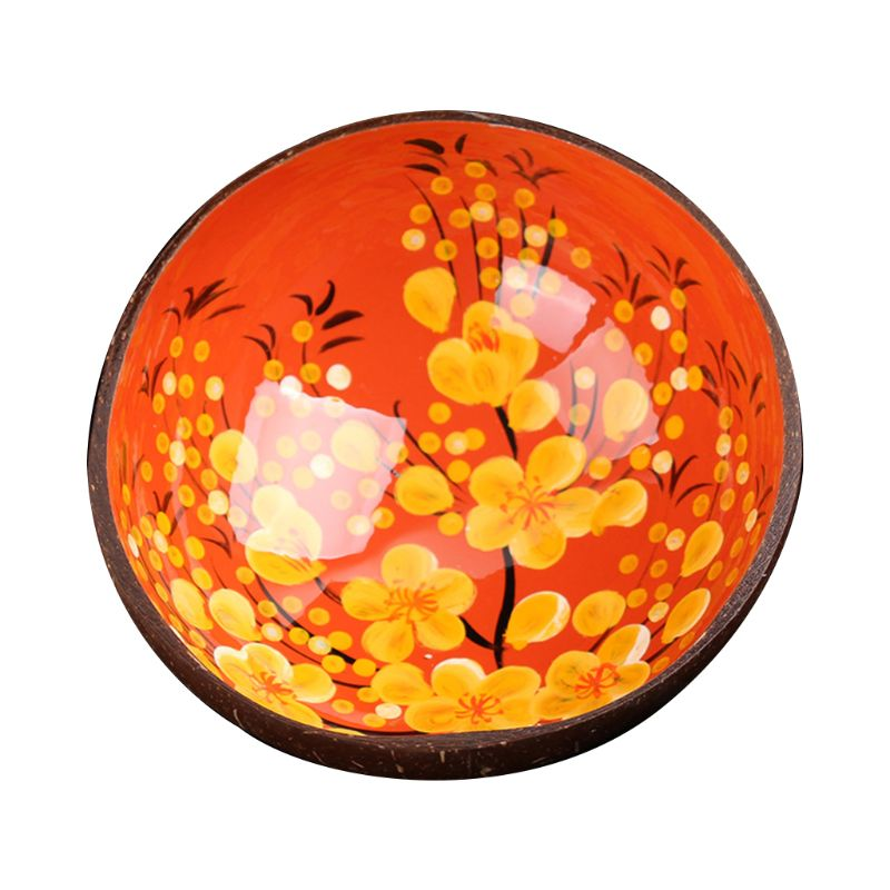 Natural Coconut Shell Bowl Desktop Key Storage Box Candy Storage Painted Creative Ornaments Jewelry in Bowls from Home Garden