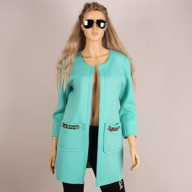 Nuevo Popular 2016 del otoño del resorte de la capa del invierno larga sólida abrir Stitch trenca de mujer moda trinchera A423