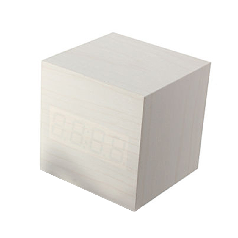 White Voice Control Cube Wood LED Alarm Digital Desk Clock Thermometer USB/AAA