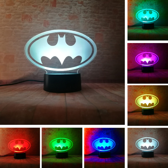 Amroe DC Justice League Marvel Batman Symbol 7 Color Dimming Auto 3D Night Light Child Kids Table Lamp Birthday Xmas Toys Gifts