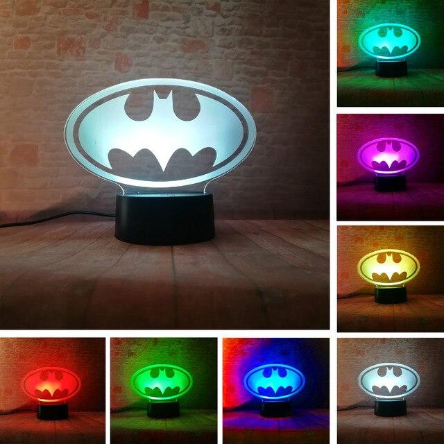 Lampara de mesa para niños, regalos de cumpleaños o de Navidad, de la Liga de la justicia de Marvel, Batman, 7 colores, luz nocturna 3D