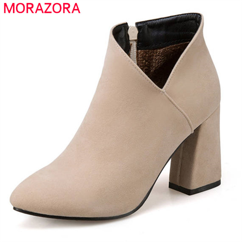 MORAZORA 2018 Newest simple zipper boots women pointed toe ankle boots flock short plush autumn winter boots fashion lady shoesMORAZORA 2018 Newest simple zipper boots women pointed toe ankle boots flock short plush autumn winter boots fashion lady shoes