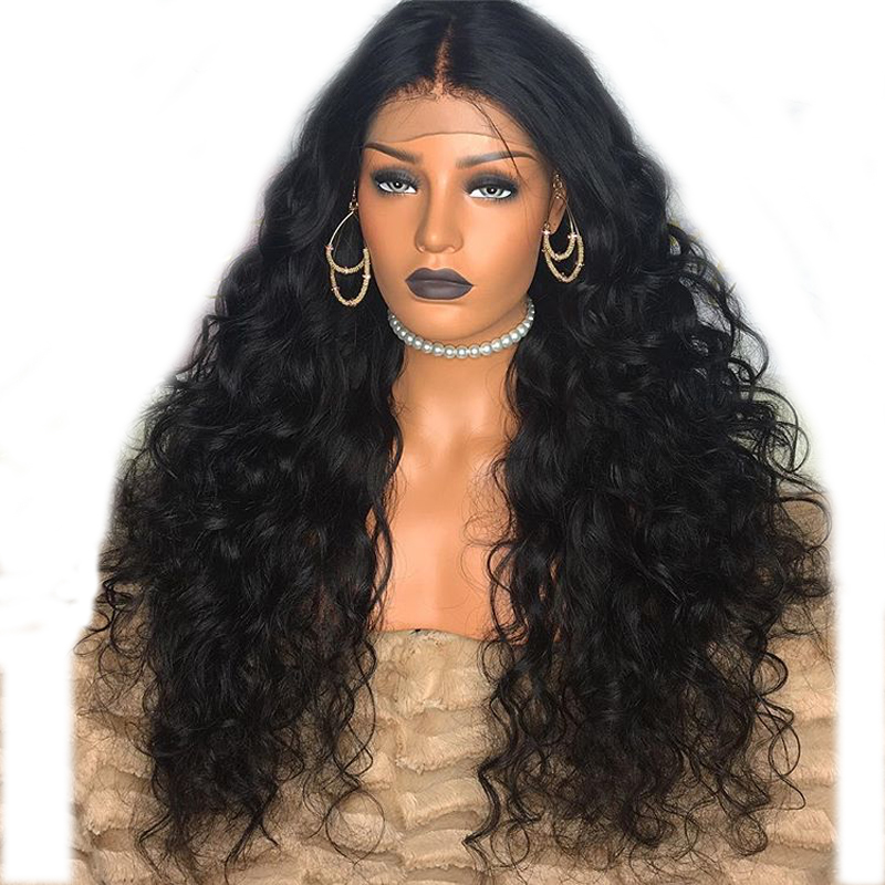 DLME Heat Resistant 180% Density Wig Synthetic Loose Wave Lace Front Wigs With Babyahir Natural Black Hair For Women