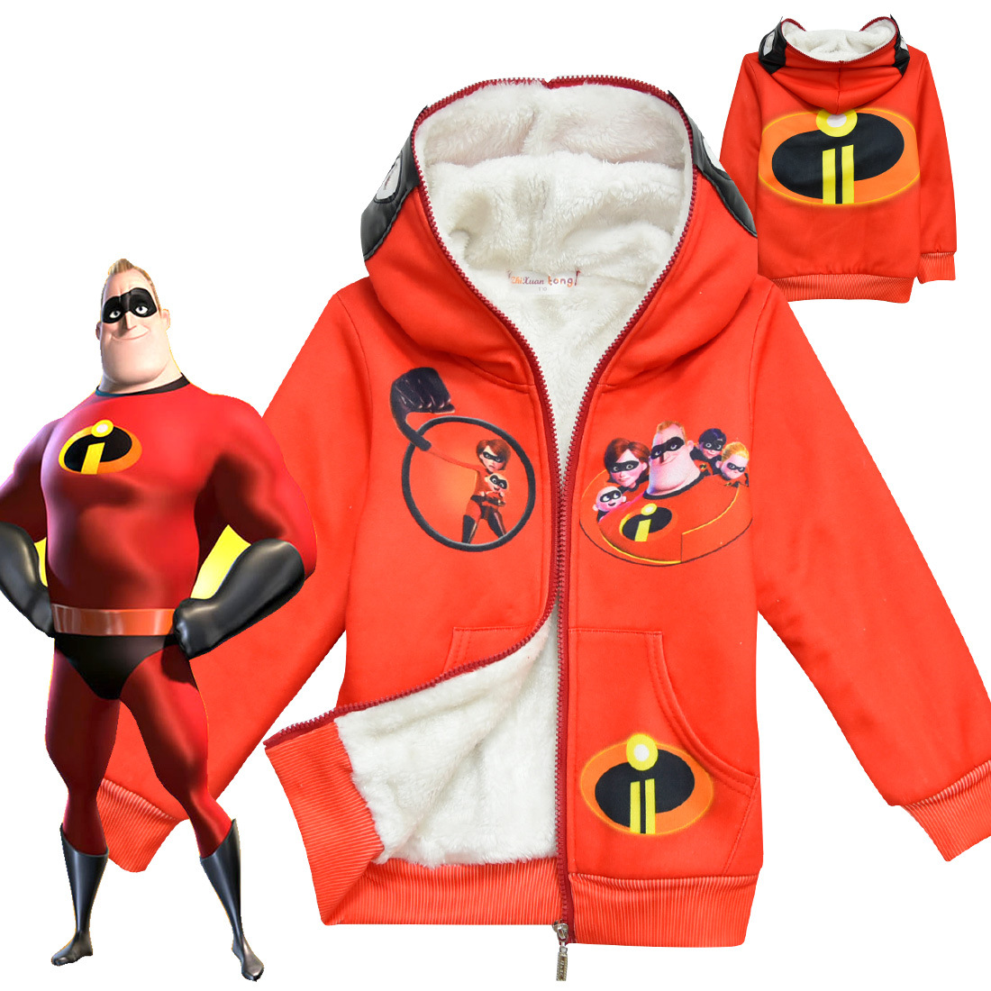 The Incredibles 2 Kids Thick Hoodies Autumn Winter Sweatshirt Boy's Girl's Top Outwear Coat Children's Halloween Cosplay Costume