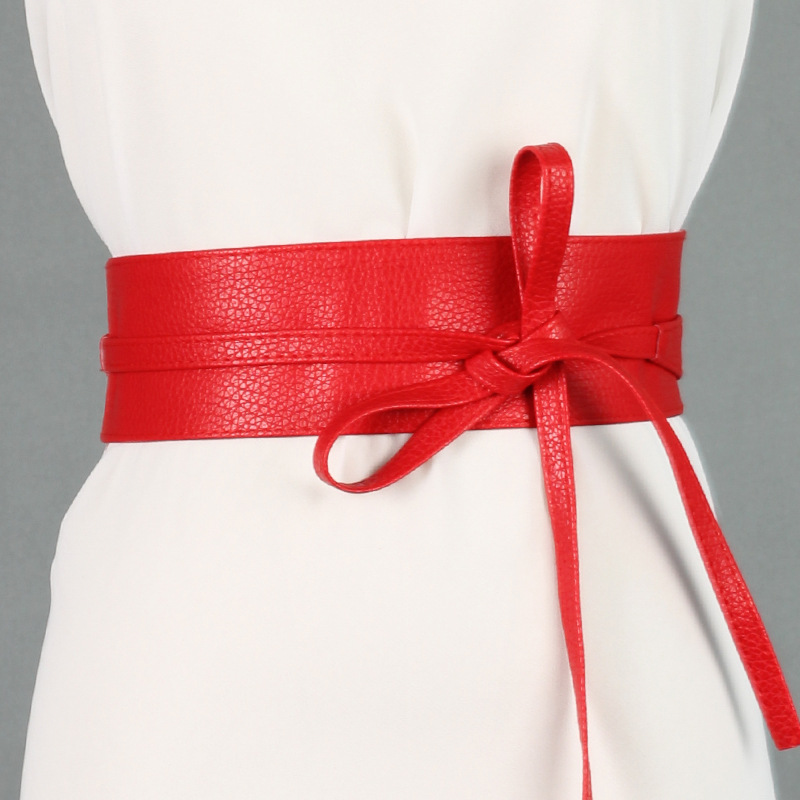 Fashion Women   Belt   Circle Soft Leather Bowknot Body Shaping Bands Wide   Belts   All Match Dress red black silver brown waist   belt