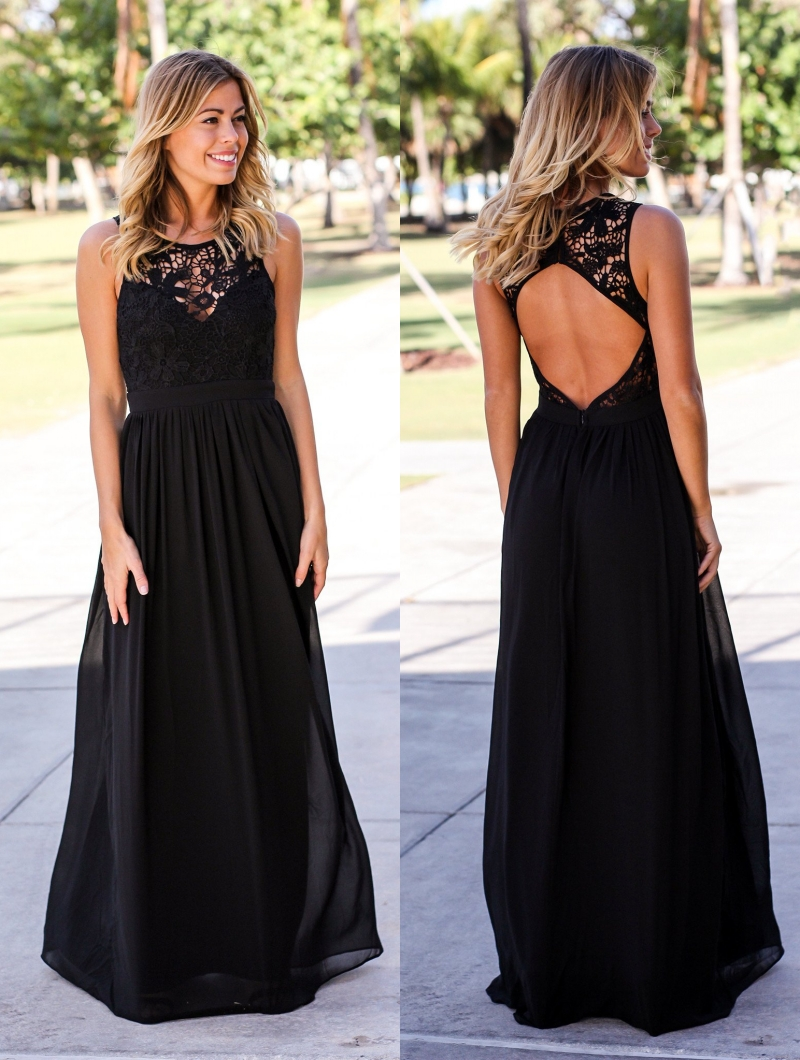 2019 Black Formal Lace   Bridesmaid     Dresses   Long Sleeveless Open Back A-line Floor Length Simple Country Bridesmais   Dress   Cheap