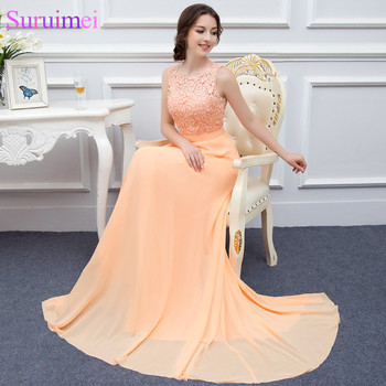 Free Shipping Long Chiffon Prom Dresses Peach High Quality Lace Backless Sexy Formal Prom Gown Vestidos De Real Photo