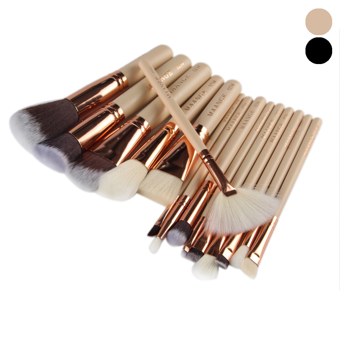 15pcs Cosmetic Makeup Brush Wooden Handle Face Powder Beauty Blusher Eye Shadow Professional Make-Up Brushes Set Kit 2017 shoushoulang w211 professional makeup brush squirrel hair eye shadow brush ebony handle cosmetic tool eye shader make up brush