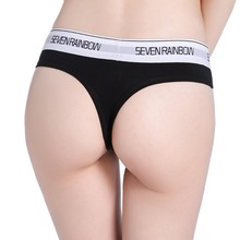 Купить с кэшбэком 4 pcs Women's Thong Panties Cotton panty Sexy Underwear women G String Low Waist 8 colors brand SEVENRAINBOW