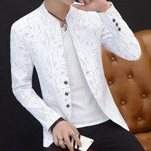 Мода, мужской повседневный блейзер с воротником, Молодежный красивый трендовый Тонкий Блейзер, белый, черный, красный, фиолетовый, с принтом, костюмы