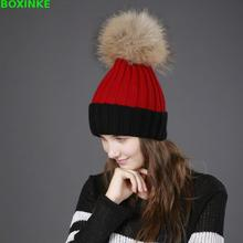 2018 Hot Sale Special Offer Adult Women Casual Patchwork Ladies Winter Hat Hair Ball Warm Imitation Raccoon Knitted Sleeve Cap