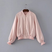 2017 Autumn New Style Women Fashion Stand Collar Long Sleeve Back Flower Embroidery Zipper Casual Loose Outwear Jacket Coat
