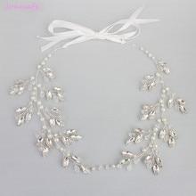 Jonnafe Handmade Clear Crystal Wedding Tiara Headband Silver Bridal Pearl Hair Jewelry Accessories Women Headpiece