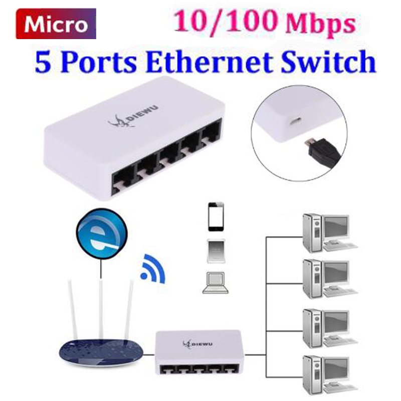 5port Switch Micro Fast Ethernet Network Switch 100Mbps Lan Hub Switch Hub Ethernet 5 Port Full Or Half Duplex Exchange
