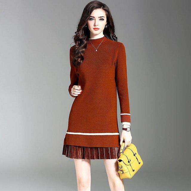 GIGOGOU Sweater Dress Women Knitted Winter Long Sleeve Robe Femme Turtleneck  Black Dress Warm Autumn Womens Clothing Tunic Tops 06de3553cc1d