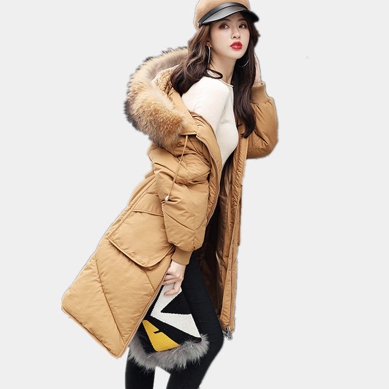 Loose Cotton Real Fur Hooded Winter Coat Women Padded Outerwear Thick Warm Parka Manteau Femme Casual Winter Jacket TT3439 zoe saldana 2017 winter women coat long cotton jacket fur collar hooded letter print outerwear femme casual parka