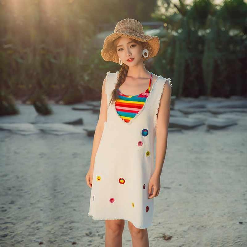 Радужный цвет, майка, повседневное свободное платье без рукавов, женское летнее платье из 2 предметов, джинсовый ремень, белое платье