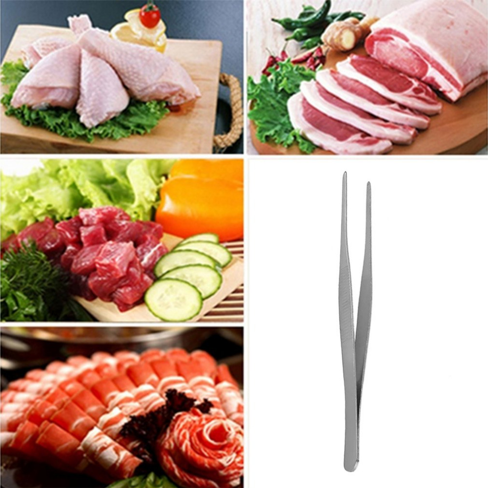 Barbecue Tongs Stainless Steel Long Straight Forceps Tweezers For Medical Purposes BBQ Restaurant Tools Tong Clips Kitchen Tool