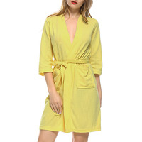 2018 Summer Dress Silk Robes For Women Pajamas Sexy Bathrobe Ladies Dressing Gowns Lingerie Pajamas And
