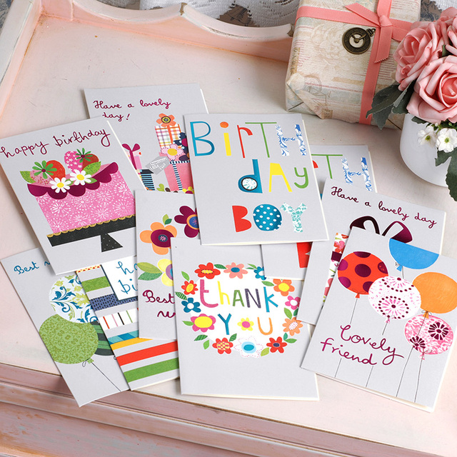 Cute Birthday Cards Glitter Balloonsflower Cake Gift Greeting Card For Kidsfriends