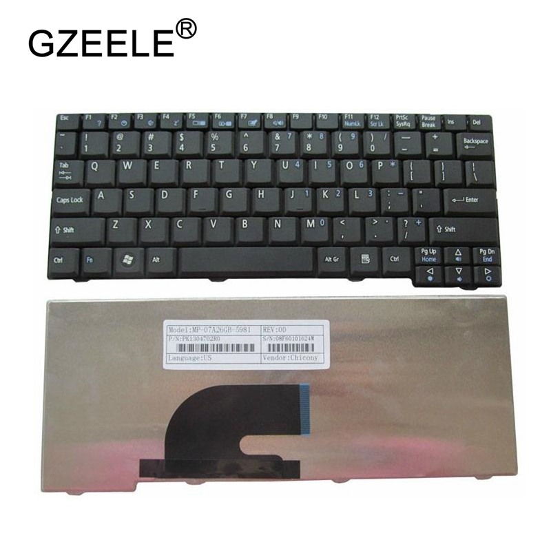 GZEELE New FOR ACER Aspire One D150 D250 KAV10 KAV60 A110 KAV60 KAVA0 D150 ZG5 ZG8 523H P531H N214CM-2 US English Keyboard Black