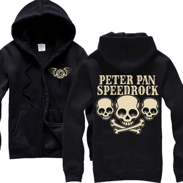 2 Ontwerpen Peter Pan Zachte Warme Katoen Rits Hoodies merk kleding shell jas punk metal Rock sudadera fleece Schedel Sweatshirt-in Hoodies en sweaters van Mannenkleding op  Groep 1